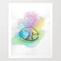 Watercolour Cat #3 Art Print