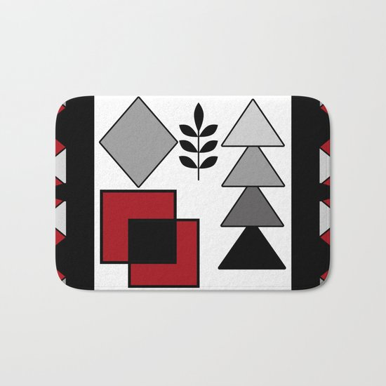 Ethnic pattern in red-black-white colors Bath Mat