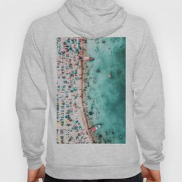 Aerial Beach Print, Large Printable Ocean Waves Wall Art, Teal Coastal Decor, Beach With People Hoody