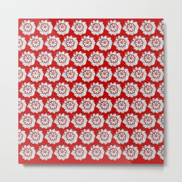 Background abstract red doodle-flowers, pattern, vector, texture design. Metal Print