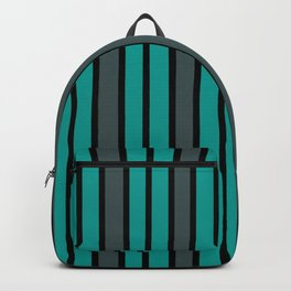 Turquoise, Black & Gray Stripes Backpack