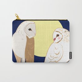 Couple of barn owls and full moon Carry-All Pouch