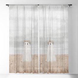 There's a Ghost in the Meadow Sheer Curtain