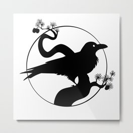 Raven Silhouette I Metal Print