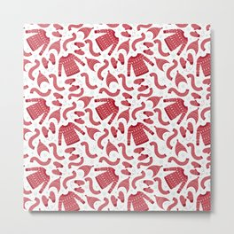 Red white snow flakes Christmas winter fashion pattern Metal Print