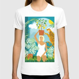 Bring The Jungle Home Illustration, Tropical Cheetah Wild Cat & Woman Painting T-shirt