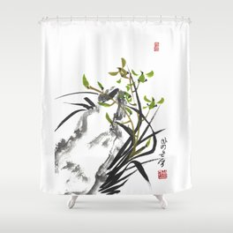 Green Orchid One Shower Curtain