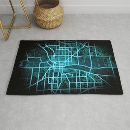Joliet, IL, USA, Blue, White, Neon, Glow, City, Map Rug