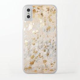 Gold Hide Print Metallic Clear iPhone Case
