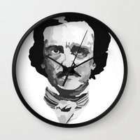 poe Wall Clocks featuring Poe by Brandi St. Romain