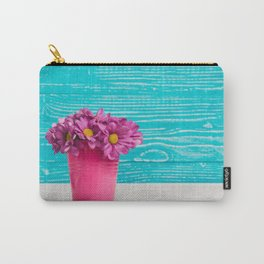 Pink Flowers x Turquoise Wood Carry-All Pouch