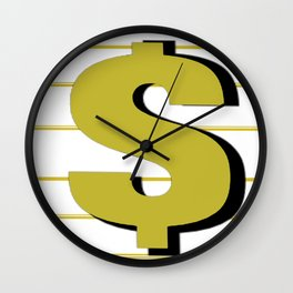 Cash $ Dollar // Transparent Gold Stripes Background 2 Wall Clock