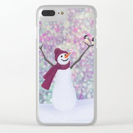 snowman and chickadees Clear iPhone Case