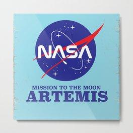 ARTEMIS NASA space art logo. Metal Print