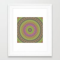 mandala Framed Art Prints featuring Floral ornament mandala  by David Zydd
