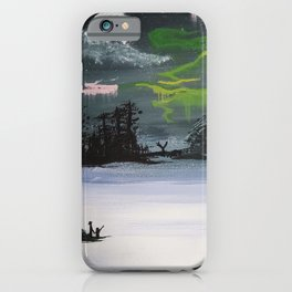 Northern Lights in winter iPhone Case
