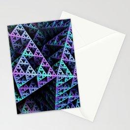 Lilac Ice 3D Sierpinski Triangle Fractal Art Stationery Cards