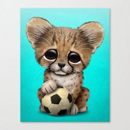 Cheetah Cub With Football Soccer Ball Canvas Print