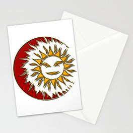 Smiling Sun Eclipsing the Moon Stationery Cards