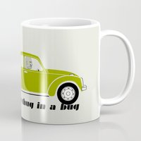 volkswagon Mugs featuring Snug as a Thug in a Bug (green) by The Wallpaper Files