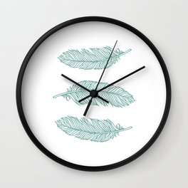 Feathers turquoise Wall Clock