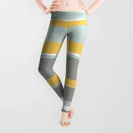 Stripe Abstract, Sun and Beach, Yellow, Pale, Aqua Blue and Gray Leggings