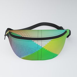 RGB (red gren blue) pixel grid planes crossing at right angles Fanny Pack