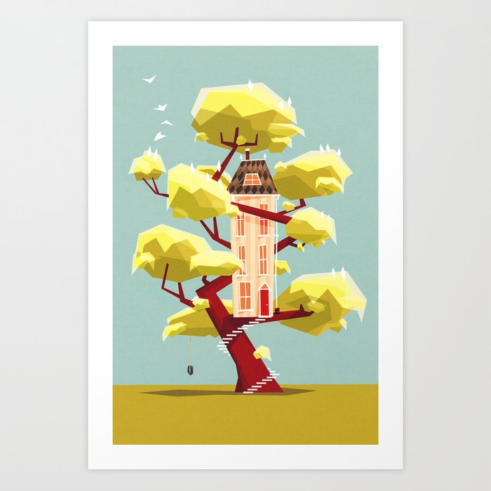 Discover the motif THE TREEHOUSE IN MY DREAM by Yetiland as a print at TOPPOSTER