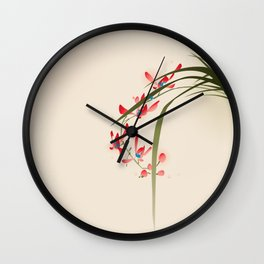 oriental style painting, red orchid flowers Wall Clock