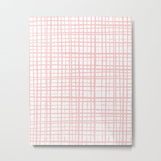 Pantone rose quartz grid pattern print minimal lines cross swiss cross painting hand drawn pastel Metal Print