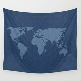 Denim Map Wall Tapestry