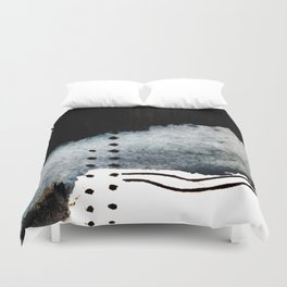 Closer - a black, blue, and white abstract piece Duvet Cover
