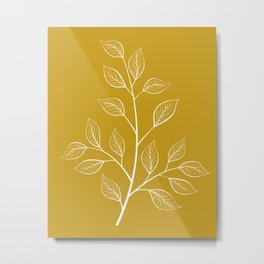 White Branch and Leaves on Mustard Yellow Metal Print