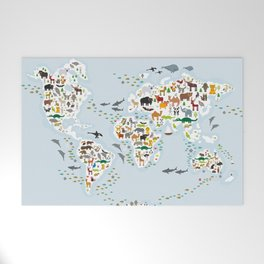 Cartoon animal world map for children and kids, Animals from all over the world Welcome Mat