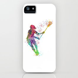 Lacrosse Girl Colorful Watercolor Sports Art iPhone Case