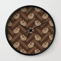 sloths Wall Clocks featuring Sloths on chevrons by Petits Pixels