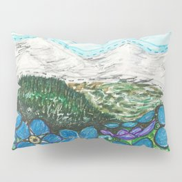 Mountains and Forget-Me-Nots Pillow Sham
