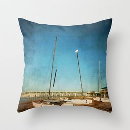 Sail Boats on the Beach Throw Pillow