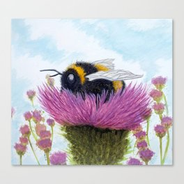Bumblebee on a Thistle Canvas Print
