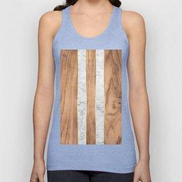 Wood Grain Stripes - White Marble #497 Unisex Tank Top