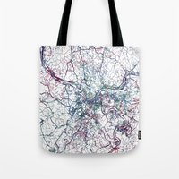 pittsburgh Tote Bags featuring Pittsburgh map by MapMapMaps.Watercolors