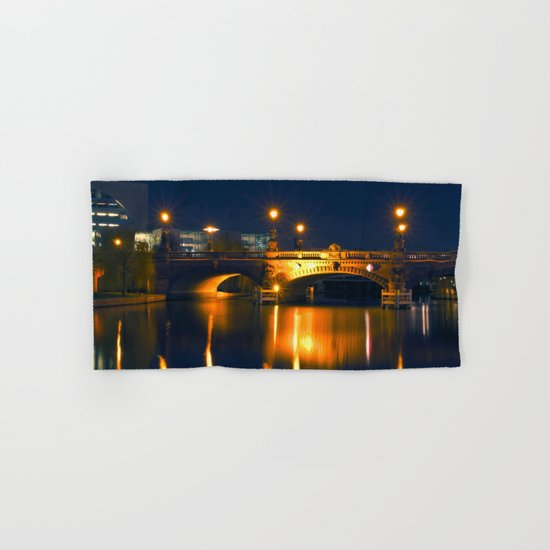 BERLIN NIGHT on the RIVER SPREE Hand & Bath Towel