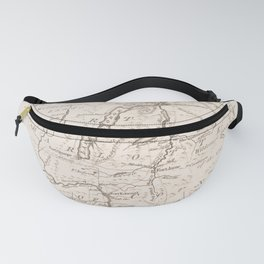 Vintage British Map of Lake George Area Fanny Pack