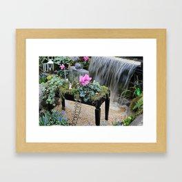 The fairy garden bench Framed Art Print