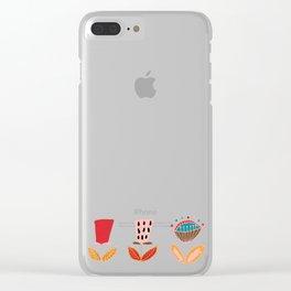 Mid- Century Modern Beige Flowers Pattern Clear iPhone Case