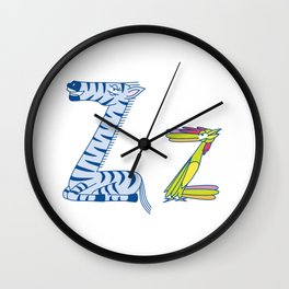 Z Uppercase/Lowercase Pair, no border Wall Clock