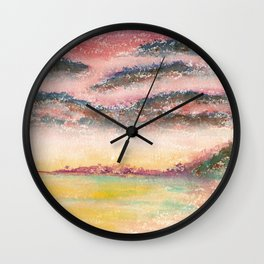 Ethereal Landscape Watercolor Illustration Wall Clock