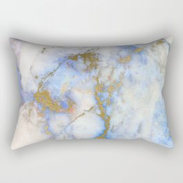Gold And Blue Marble Rectangular Pillow