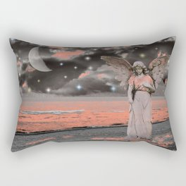 Grey Coral Pink Angel Waves Water Ocean Moon Stars Art A331 Rectangular Pillow