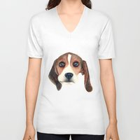 beagle V-neck T-shirts featuring Beagle by Carmen Lai Graphics